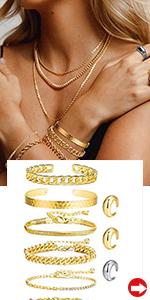 Gold Cuban Chain Bracelet Set