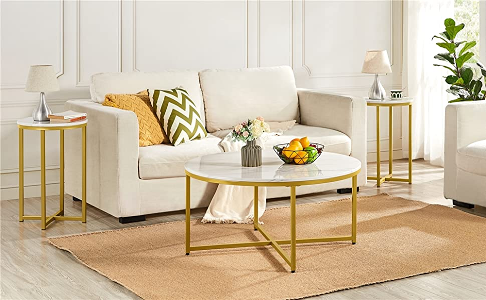 Yaheetech Round Coffee Table amp; 2pcs Side Table