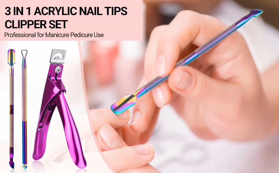 MelodySusie Acrylic Nail Tips Clipper 3 in 1 Kit