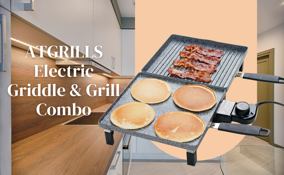 atgrills electric griddle grill combo