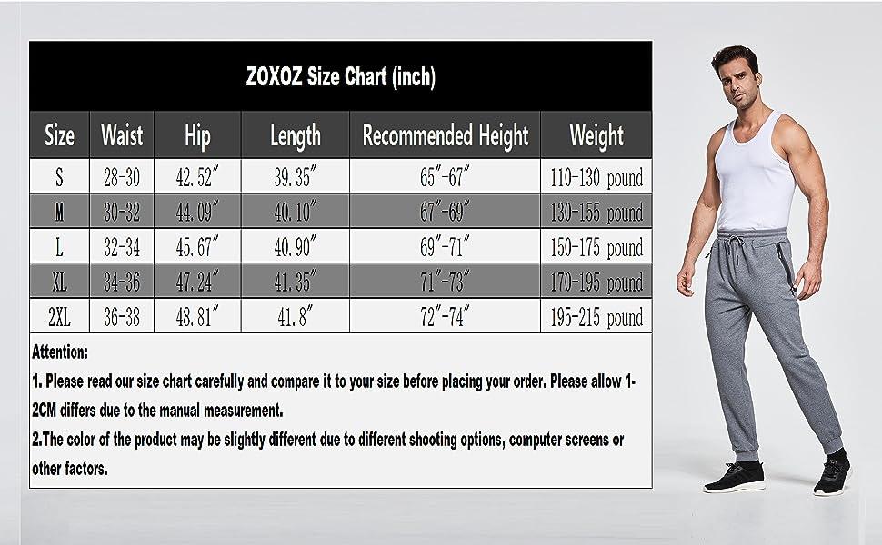 Jogging bottoms men Size Chart