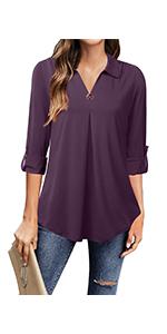 3/4 Sleeve Tunic Tops Ladies Work Shirts