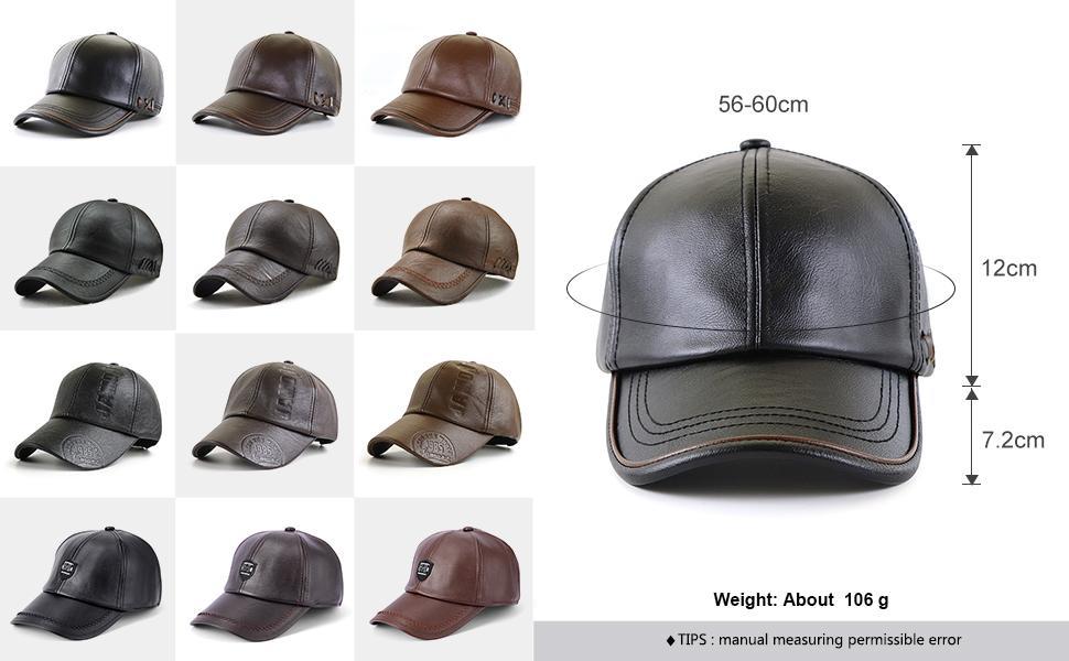 Govicta Men Baseball Cap PU Leather Classic Vintage Newsboy Caps ...