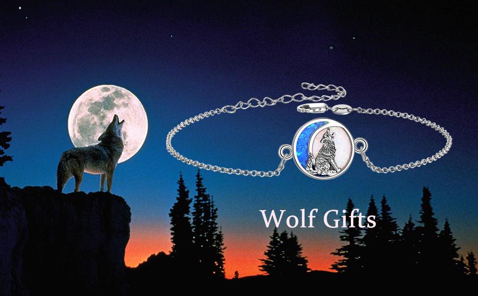 Wolf Opal Moon Bracelet for Women Girls