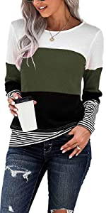 NEYOUQE Womens Loose Color Block Long/Short Sleeve T Shirts Casual Comfy Tops