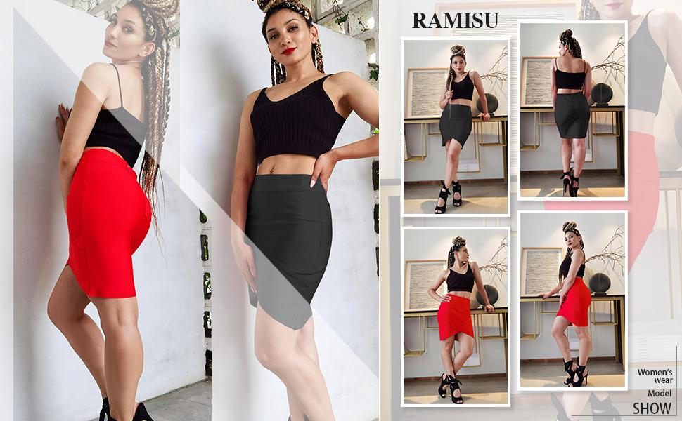 RAMISU Women's Ribbed-Knit Skirt