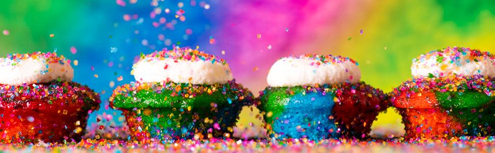 Delicious mini-cupcakes rainbow colors frosting and sprinkles