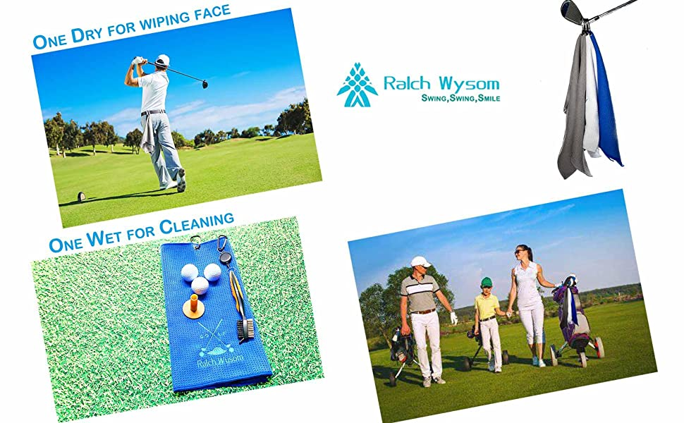 Enjoy golf My Family Golf Life dry wet cleaning clubs balls wiping face towels golfer