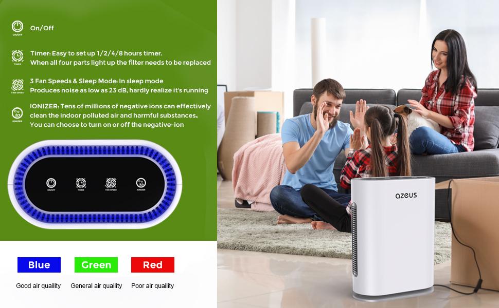 Whisper-quiet SLEEP MODE 、 LOW ENERGY CONSUMPTION、Auto-Air Quality Sensor