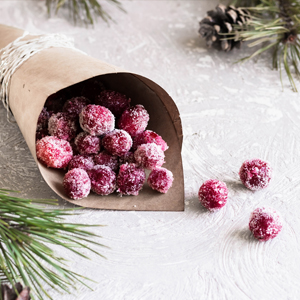 frozen cranberries cone fragrance close up