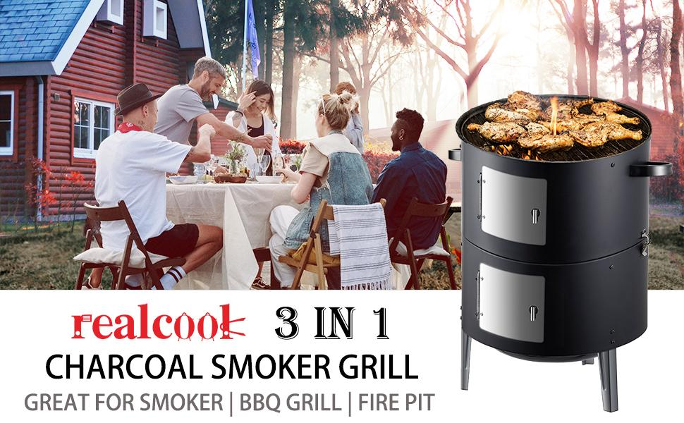 Realcook 3-in-1 Charcoal Smoekr