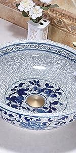 blue floral vessel sink