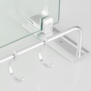Bathroom Shelf With Towel Bar and 2 moveable hooks
