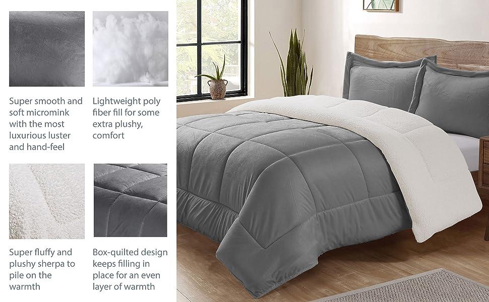 faux fur amp; sherpa reversible comforter