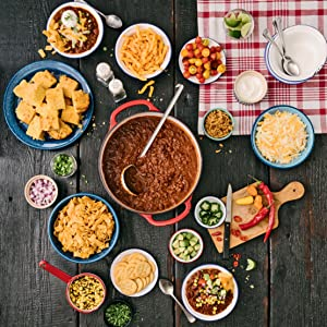 Chili spread with bowls for toppings.