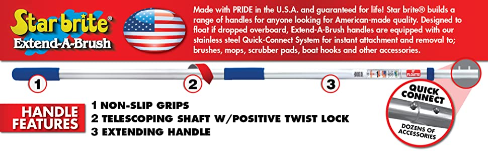 Star brite, Extend-A-Brush, Brush Handle, Telescoping, Extending, Quick Connect, Twist Lock, Pole