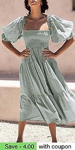B097BLMPY4-款24 Puff Sleeve Gingham Dress