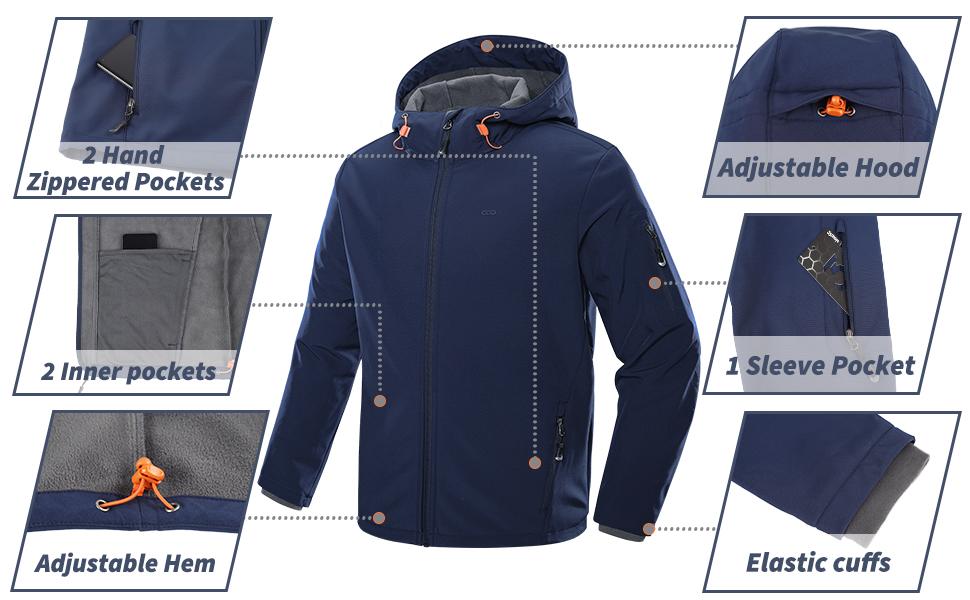 multi pockets jacket, adjustable hood, hem and cuffs