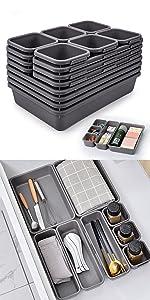 Drawer Organizers Bins Pack for Office Bathroom  Vanity Utensil Tray Kitchen Interlocking