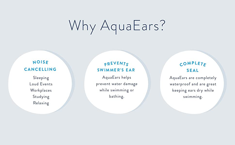 AquaEars are noise cancelling, helps prevent swimmer's ear, and are waterproof