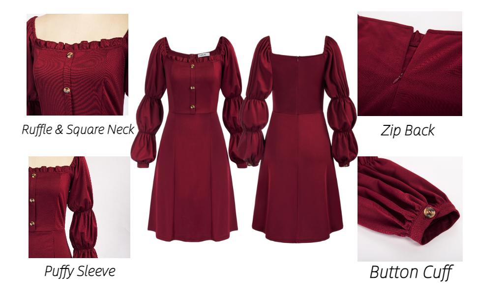 women ruffle and square neck puffy sleeve button cuff zip back dress