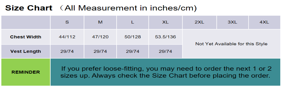 Clothing size table