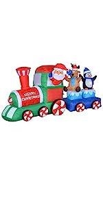 7 Foot Long Christmas Inflatable Santa Claus Reindeer Penguin on Train Indoor Outdoor Decoration