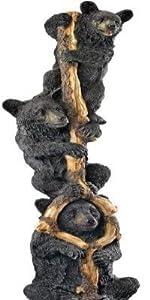 Black Bear Cubs Up a Tree Outdoor Garden Statue