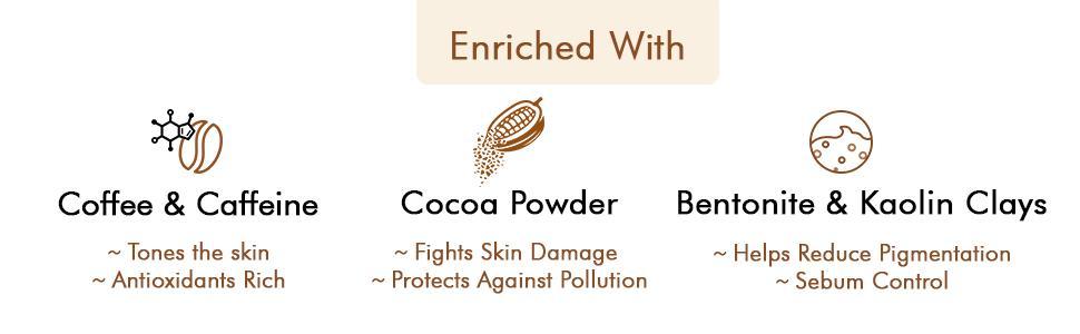 Enriched with Coffee & Caffeine, Cocoa Powder, Bentonite & Kaolin Clays