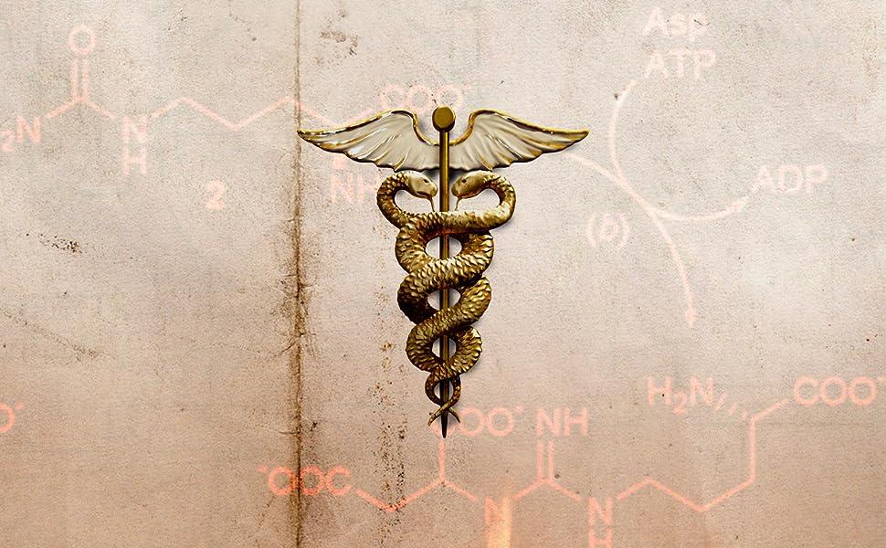 Caduceo dorato su pergamenta con formule chimiche