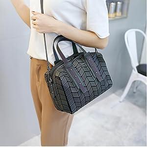 GOWETION  luminous leather crossbody handbag geometric purse shoulder bag