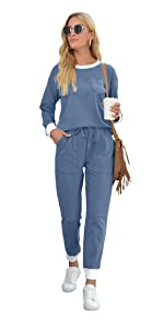 two piece outfits for women casual crewneck