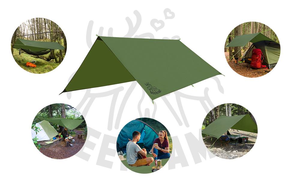 DEERFAMY 10x10ft Camping Tarp Waterproof