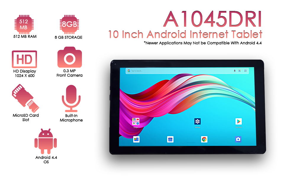 Picture of A1045 Tablet with features listed
