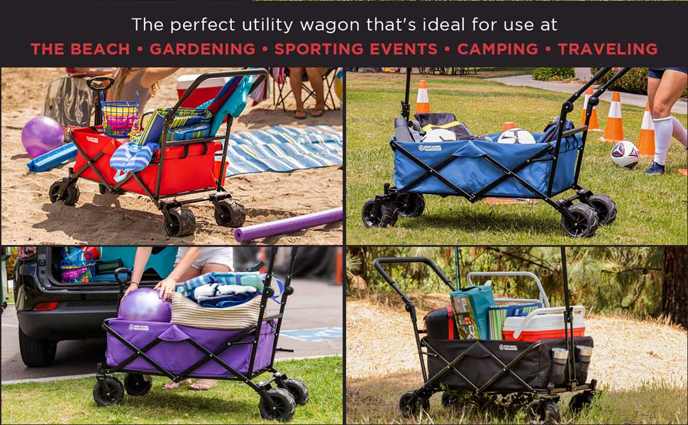 Wide Wheel Wagon Utility Wagon for Beach, Gardening Sportin Events, Camping, Traveling and More