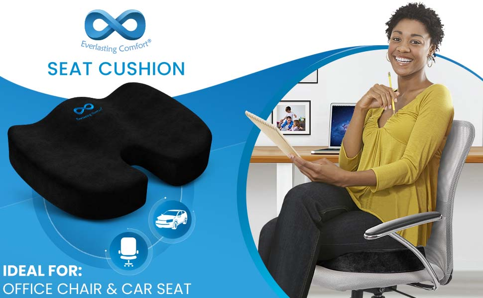 Woman sitting on black tailbone cushion with icons showing it's ideal for office chairs, car seats