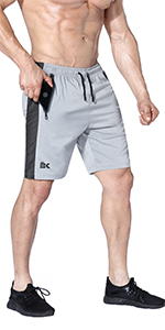 Quick Dry Workout Running Shorts with Zipper Pockets, Lightweight Gym Athletic Short