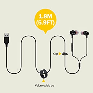 Long Cord Earphones with Cable Tie and Cord Clip