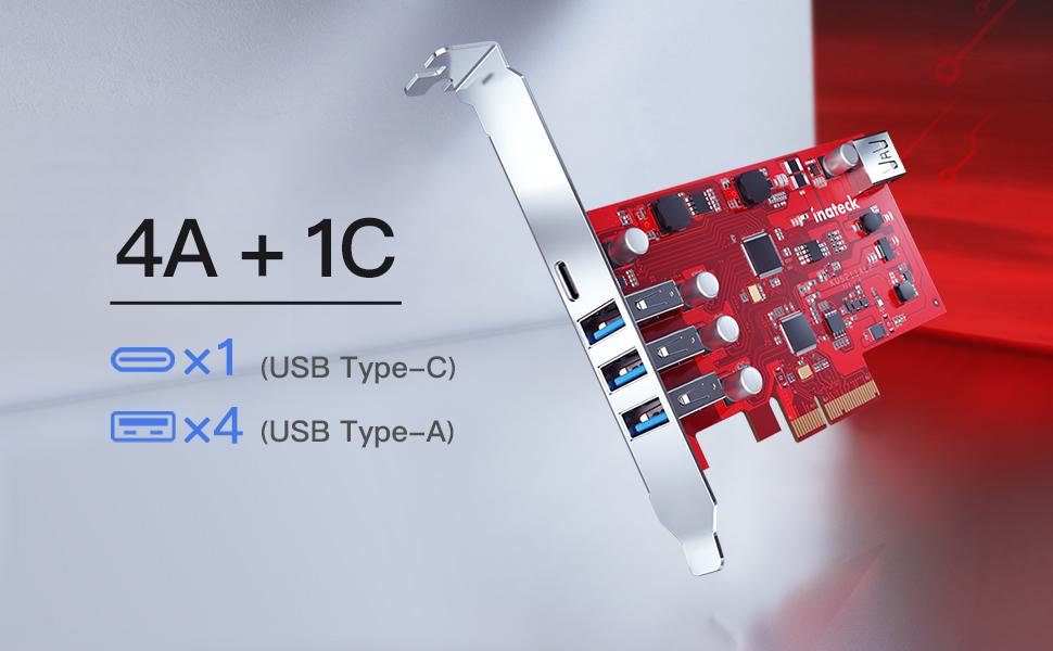 PCIe auf 4 USB A und 1 USB C Ports