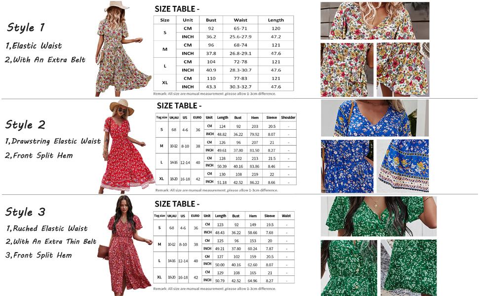 Women Floral Maxi Dress Summer Boho Beach Dress Short Sleeve V Neck Flowy Swing Dress