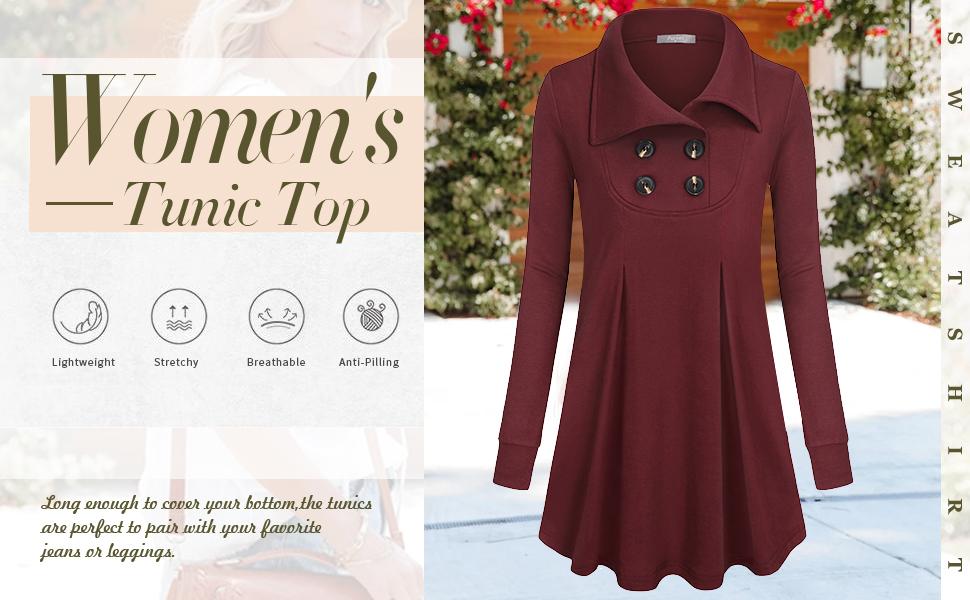 women tunic tops winter long sleeve sweatshirt ladies pullover fall tunics with buttons swing tunic