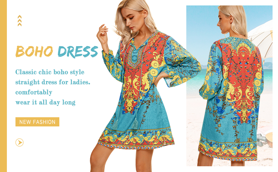 Classic chic boho style straight dress 3/4 sleeve dress for women v neck dress for women