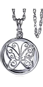 Silver necklace magnifying glass