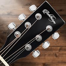 Ashthorpe acoustic-electric dreadnought guitar, black, chrome tuning pegs closeup, steel strings