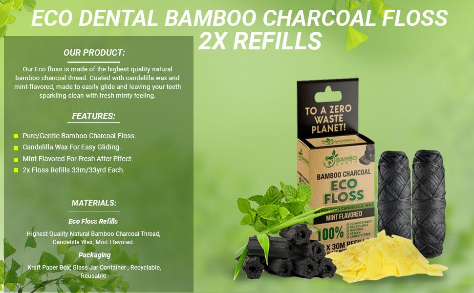 Bamboo Charcoal Cturlty Free Floss Refills Pack