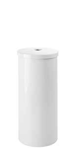 White Plastic Toilet Tissue Paper Roll Canister Holder Tube and Lid with Central Hole Handle