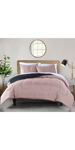 4-Pink and grey Reversible microfiber 3-Piece comforter