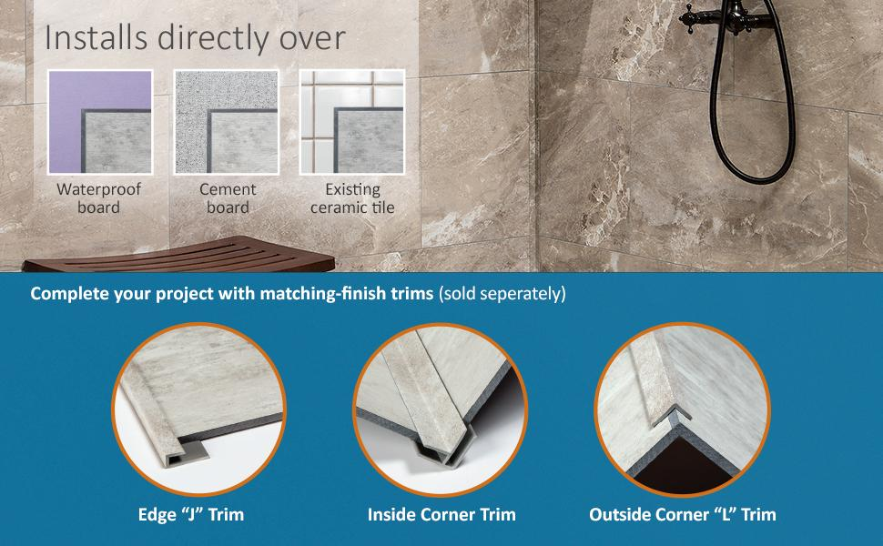 Palisade Tiles installs over Waterproof Board, Cement Board, Existing Ceramic Tile Trim