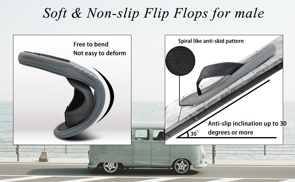 mens soft flip flops