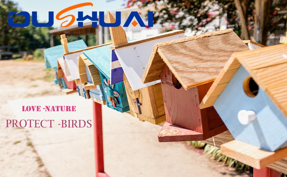 Hanging Bird Houses for Outside Height Cute Outdoor Decorative Resin Birdhouse Garden Decor Nest